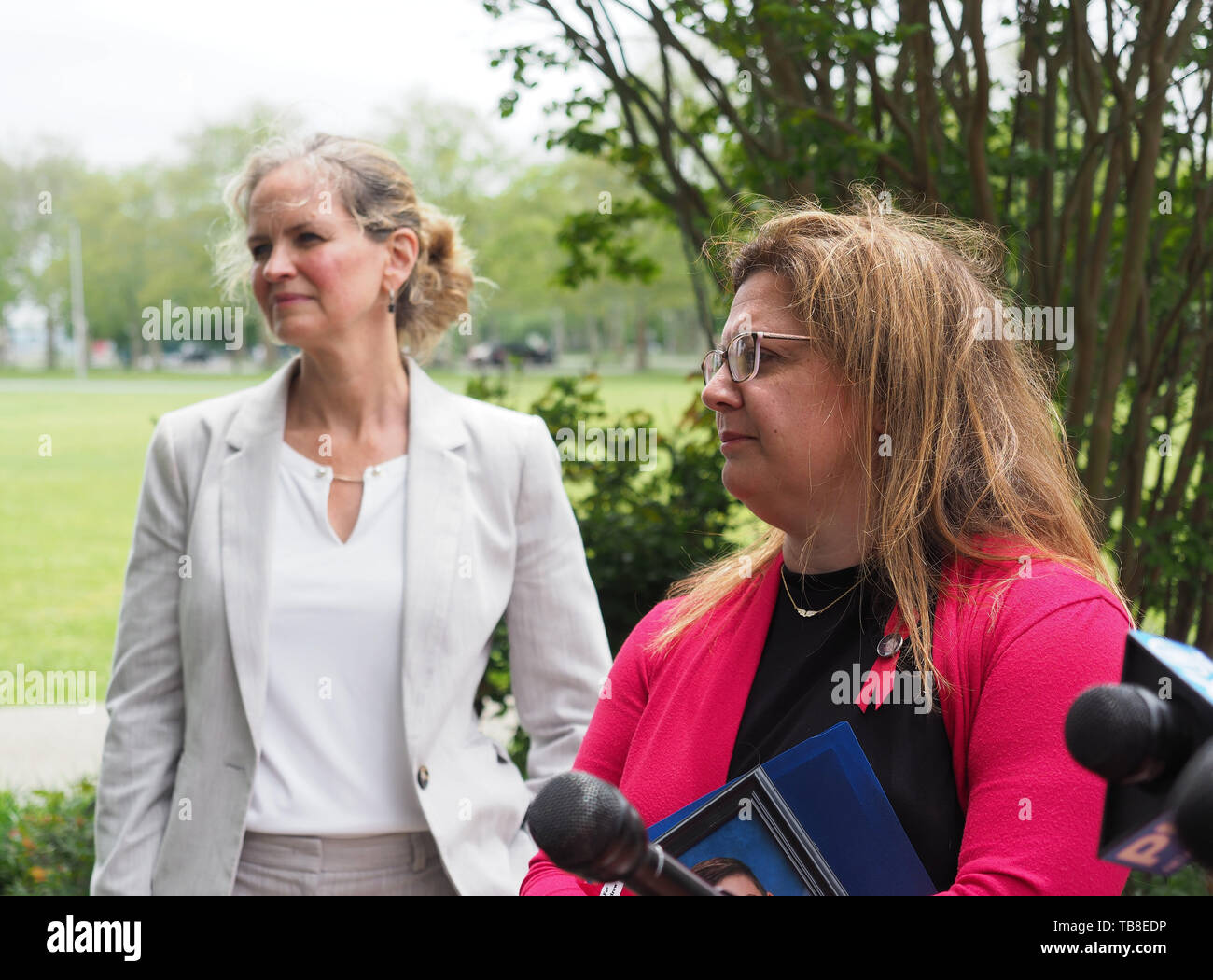 Hempstead, New York, USA. 30th May, 2019. L-R, Nassau County Executive LAURA CURRAN and ALISA MCMORRIS are two of the participants in Press Conference of U.S. Rep. Kathleen Rice (NY-04) announcing the congresswoman is introducing Three Bills to Congress to combat Impaired and distracted Driving. McMorris's 12-year-old son Andrew was killed by drunk driver exactly 8 months ago in Manorville while walking with group of fellow Boy Scouts.The package of 3 bills are: End Drunk Driving Act, the Prevent Impaired Driving Child Endangerment Act, and the Distracted Driving Education Act of 2 - Stock Image
