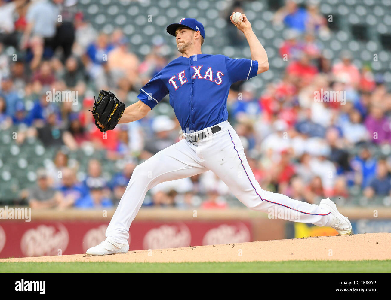 May 30, 2019: t23 pitched 5 innings with 8 strike outs and gave up 3 earned runs during an MLB game between the Kansas City Royals and the Texas Rangers at Globe Life Park in Arlington, TX Kansas City defeated Texas 4-2 Albert Pena/CSM. - Stock Image
