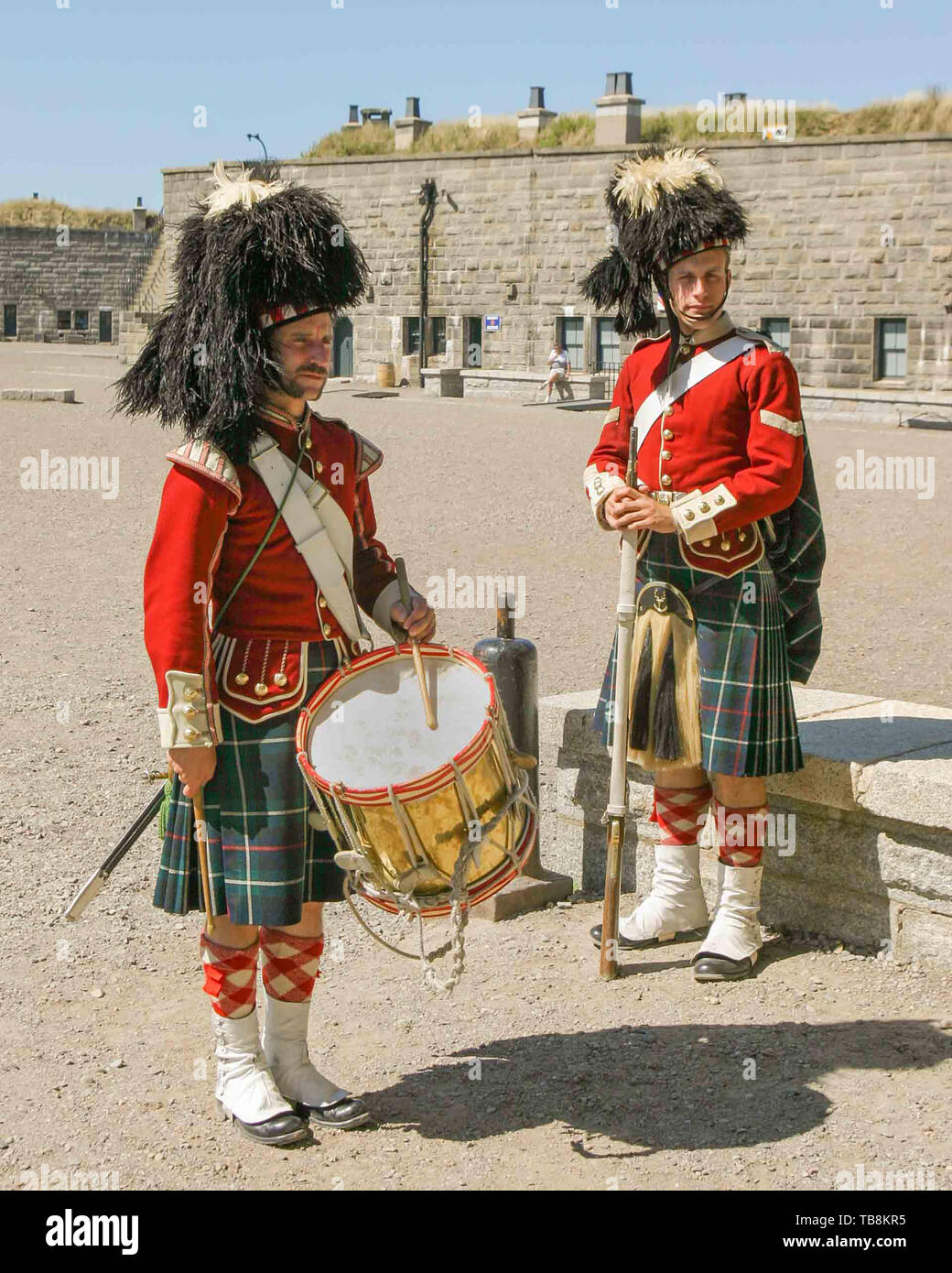 Halifax, Nova Scotia, Canada. 5th Sep, 2005. Re-enactors dressed as soldiers of the 78th Highland Regiment, on Citadel Hill (Fort George), a National Historic Site in Halifax, Nova Scotia. A living history museum, the fort is among the most visited sites in Atlantic Canada. Credit: Arnold Drapkin/ZUMA Wire/Alamy Live News - Stock Image