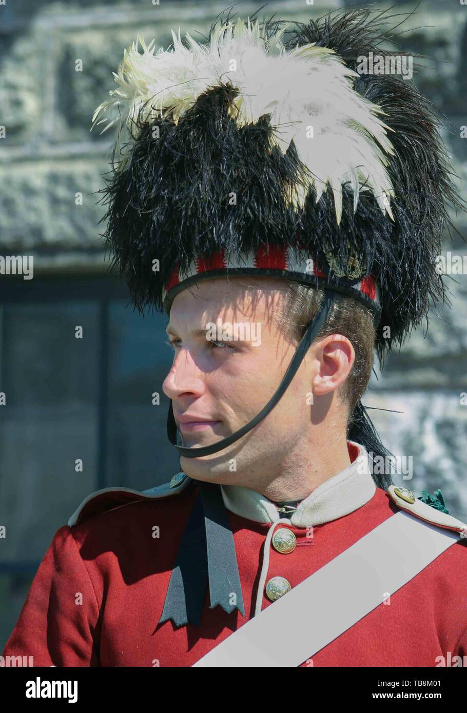 Halifax, Nova Scotia, Canada. 5th Sep, 2005. Portrait of a re-enactor, dressed in the uniform of the 78th Highlanders. They perform for tourists on Citadel Hill (Fort George), a National Historic Site in Halifax, Nova Scotia. A living history museum, the fort is among the most visited sites in Atlantic Canada. Credit: Arnold Drapkin/ZUMA Wire/Alamy Live News - Stock Image