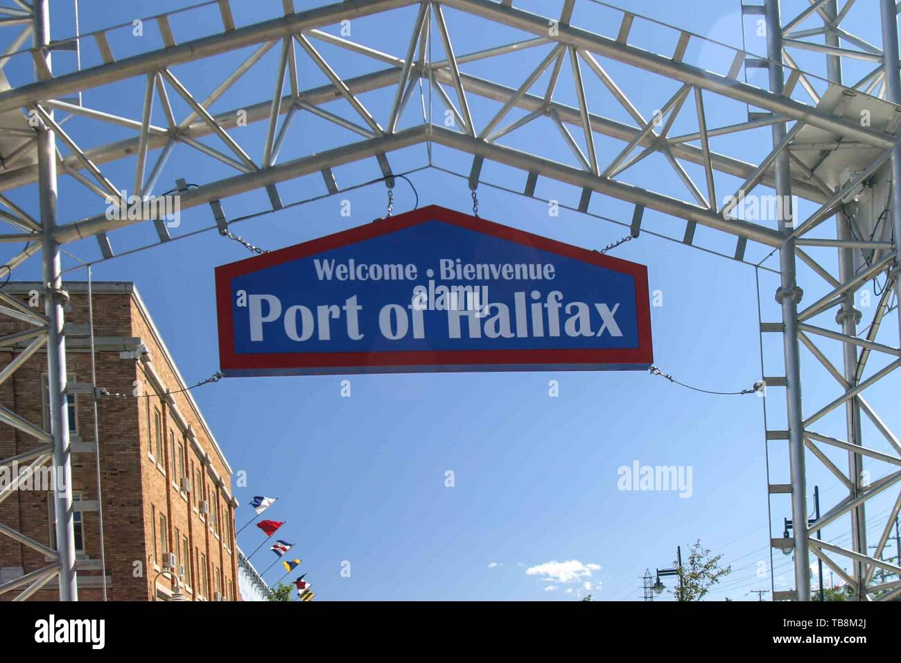 Halifax, Nova Scotia, Canada. 5th Sep, 2005. A welcome sign, in English and French, in the Port of Halifax, Nova Scotia, Canada. Credit: Arnold Drapkin/ZUMA Wire/Alamy Live News - Stock Image