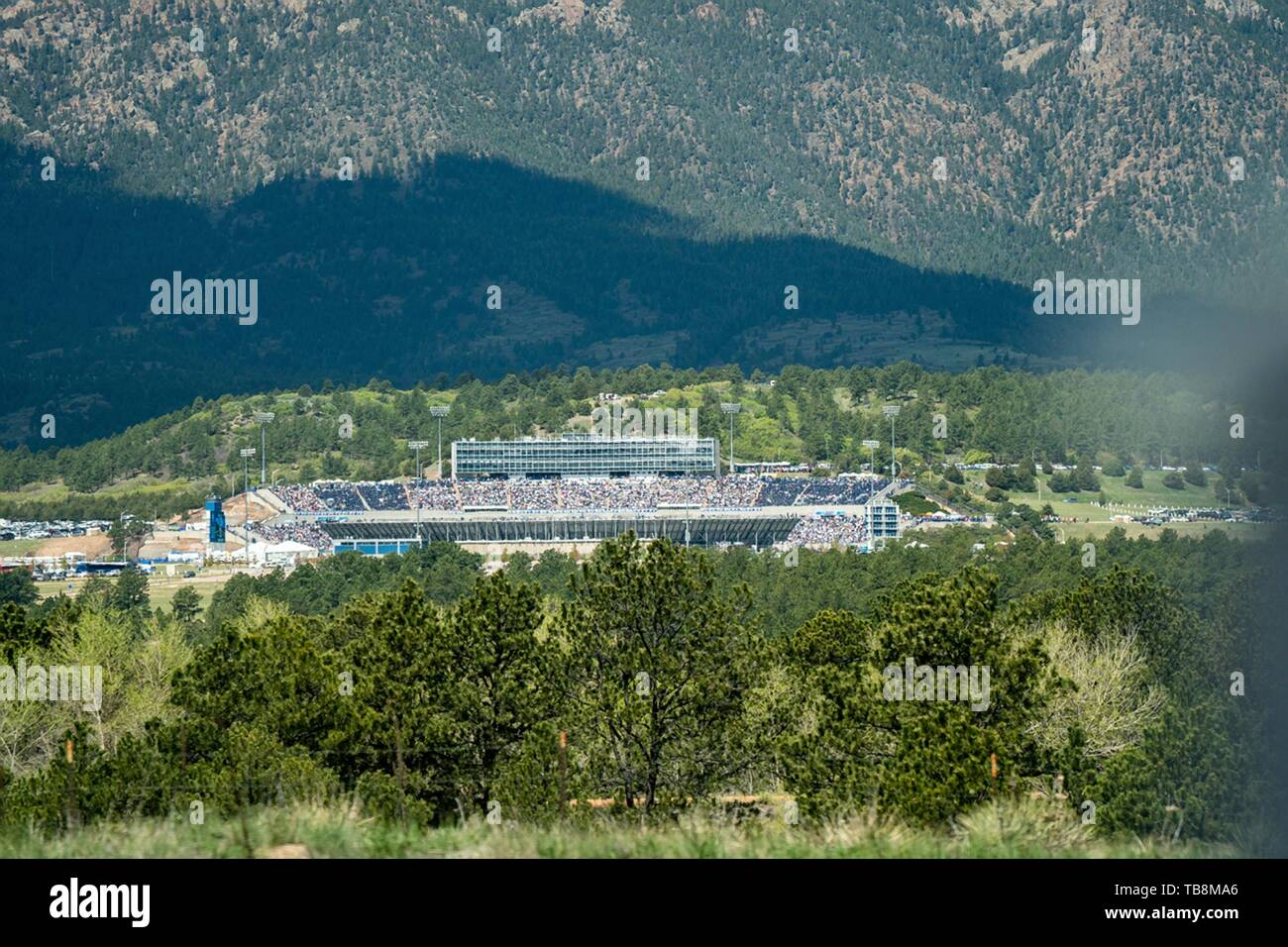 Colorado Springs, Colorado, USA. 30th May, 2019. Aerial view of the U.S Air Force Academy Falcon Stadium filled to capacity for the 2019 Graduation Ceremony May 30, 2019 in Colorado Springs, Colorado. Credit: Planetpix/Alamy Live News - Stock Image