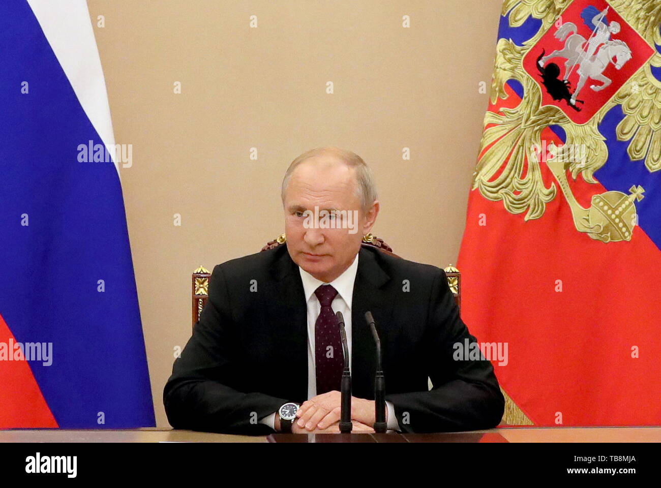 Moscow, Russia. 31st May, 2019. MOSCOW, RUSSIA - MAY 31, 2019: Russia's President Vladimir Putin holds a meeting with permanent members of the Security Council at the Moscow Kremlin. Mikhail Klimentyev/Russian Presidential Press and Information Office/TASS Credit: ITAR-TASS News Agency/Alamy Live News - Stock Image
