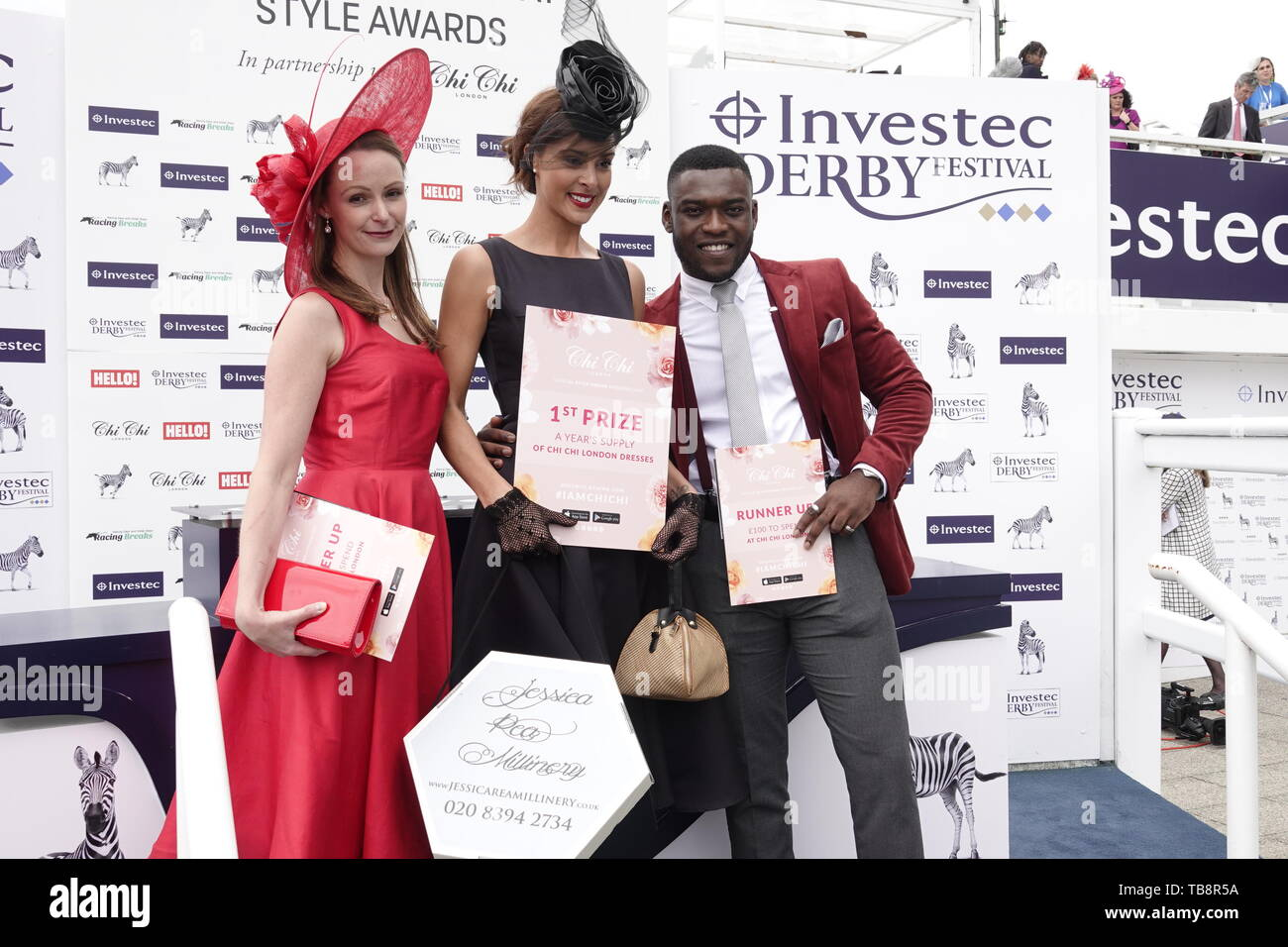 Epsom Downs, Surrey, UK. 31st May, 2019. Charlotte Hamilton from Cheltenham wins The 'Style Awards' with the runners up at the Investec Derby Festival - on Ladies Day, classic horse race. Credit: Motofoto/Alamy Live News - Stock Image