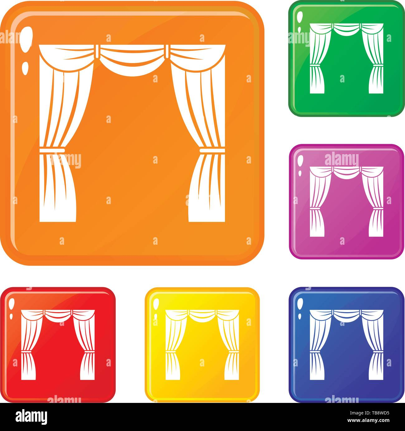 Curtain on stage icons set vector color - Stock Vector