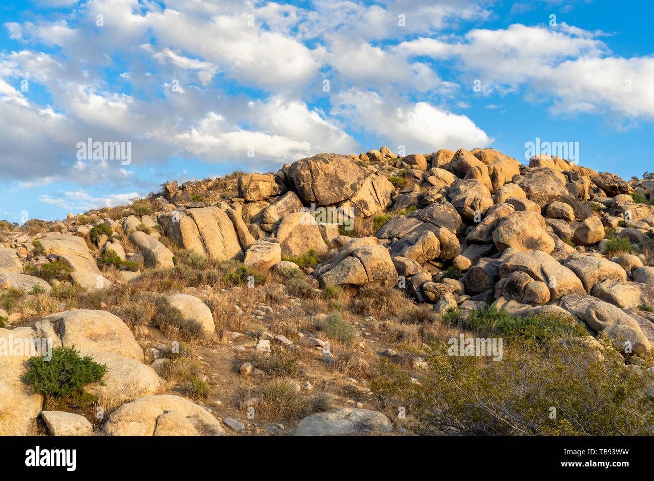Boulder formation hill at  Apple Valley, California,  in the Mojave Desert. Stock Photo