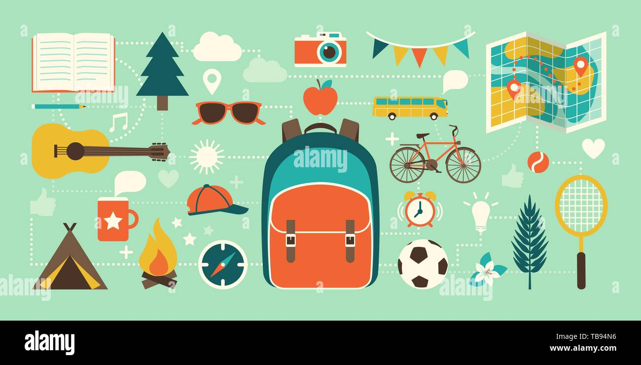 Summer camp, vacations and childhood concept: tourism, adventure and education icons connected together - Stock Vector