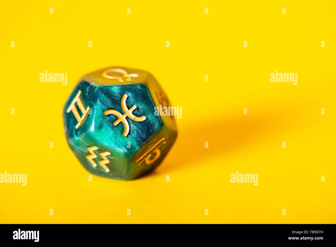 Astrology Dice With Zodiac Symbol Of Pisces Feb 19 Mar 20 On Yellow Background Stock Photo Alamy