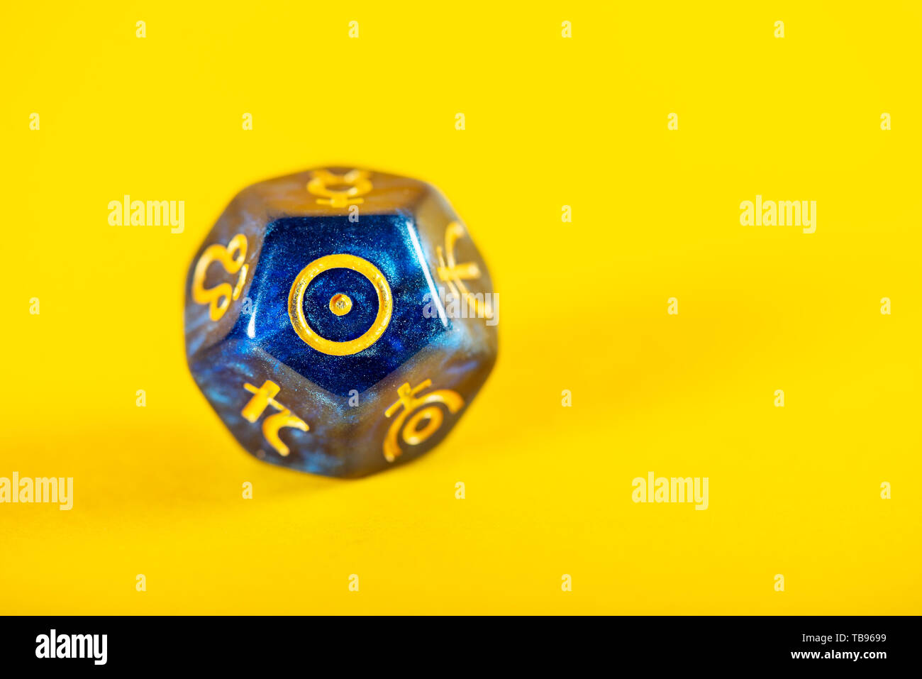 Astrology Dice With Symbol Of The Sun On Yellow Background Stock Photo Alamy