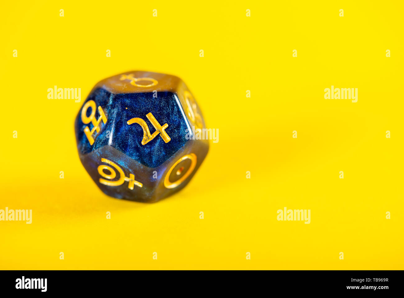 Astrology Dice With Symbol Of The Planet Jupiter On Yellow Background Stock Photo Alamy