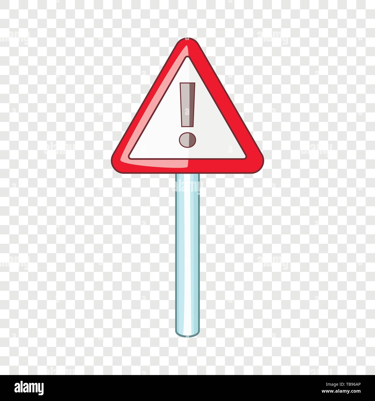 Warning sign icon, cartoon style - Stock Image