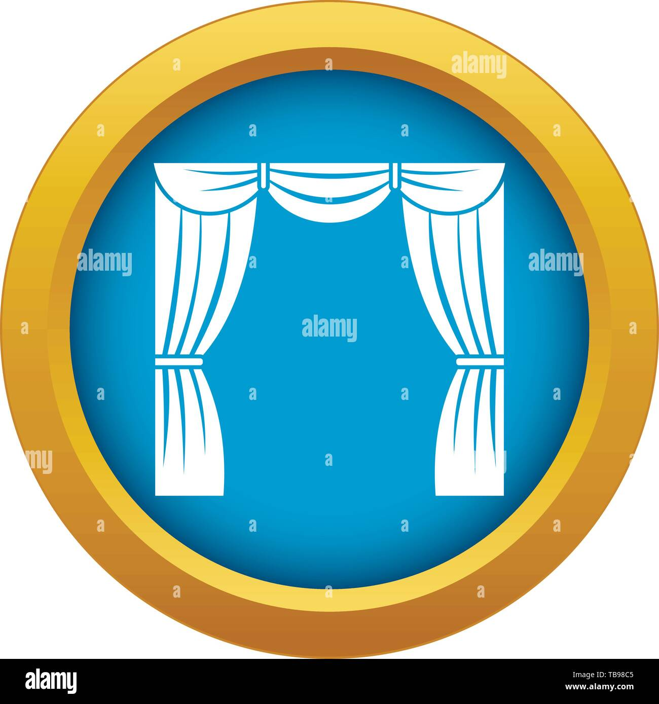 Curtain on stage icon blue vector isolated - Stock Vector