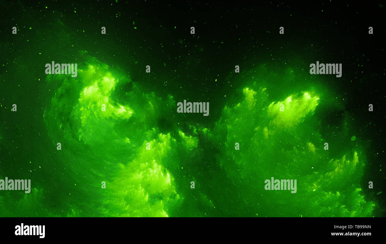 Green glowing nebula fractal, computer generated abstract background, 3D rendering - Stock Image