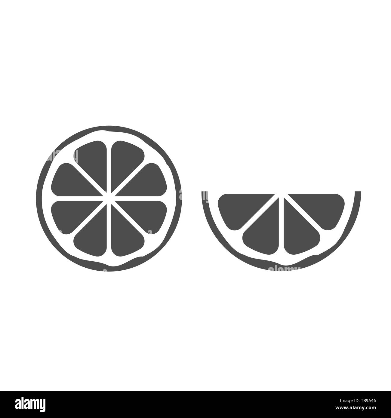 Orange icon. Cut orange with slices isolated over white background Vector illustration - Stock Image