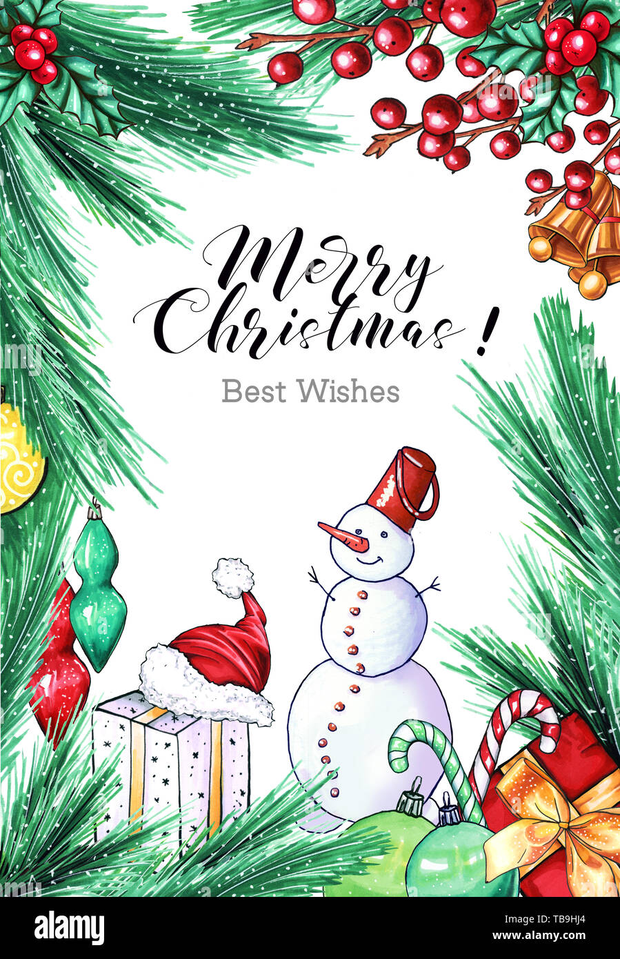 Merry Christmas greeting card template. Xmas calligraphic ...