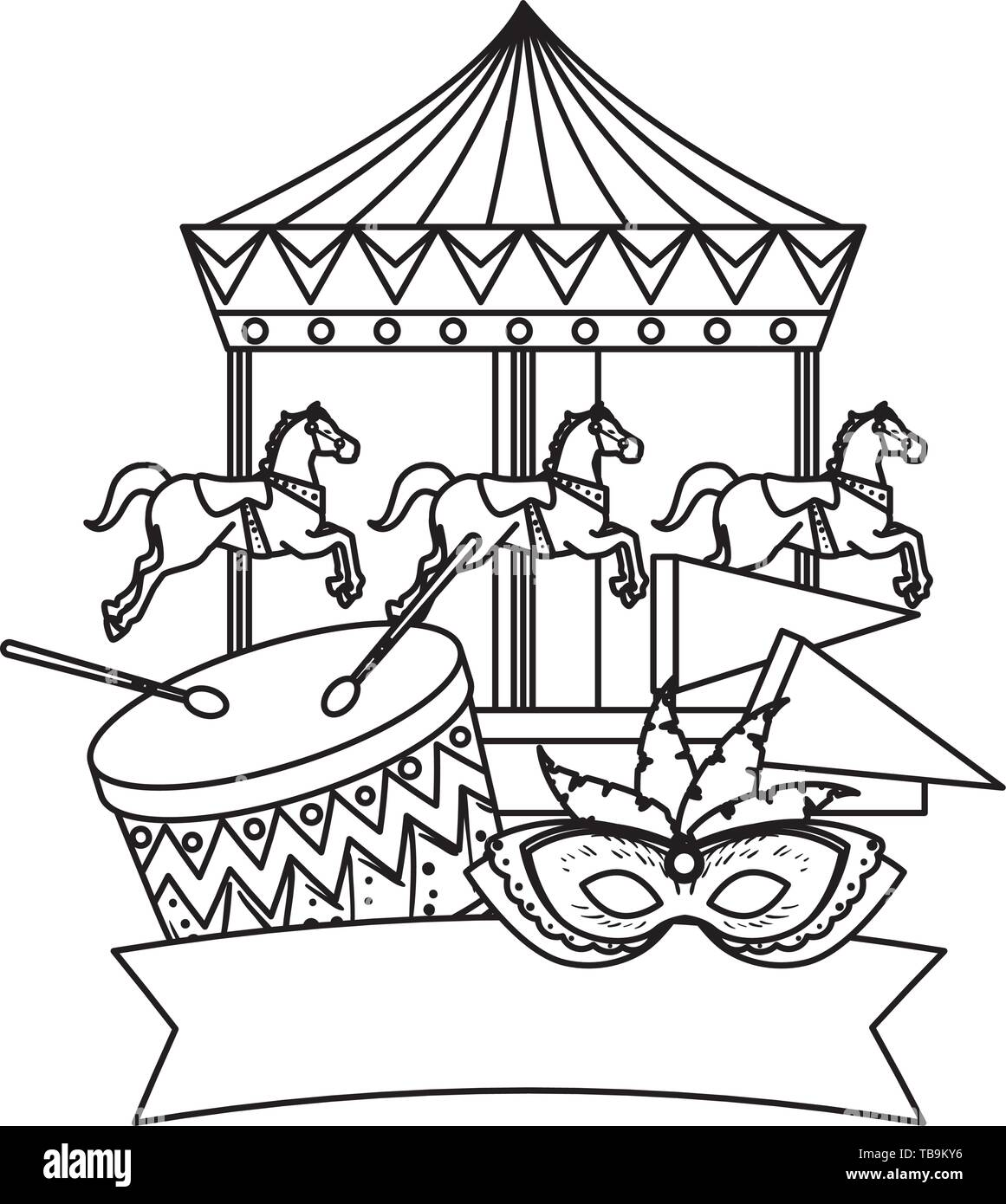 Carnival Carousel Horses With Drum And Mask Stock Vector Image Art Alamy