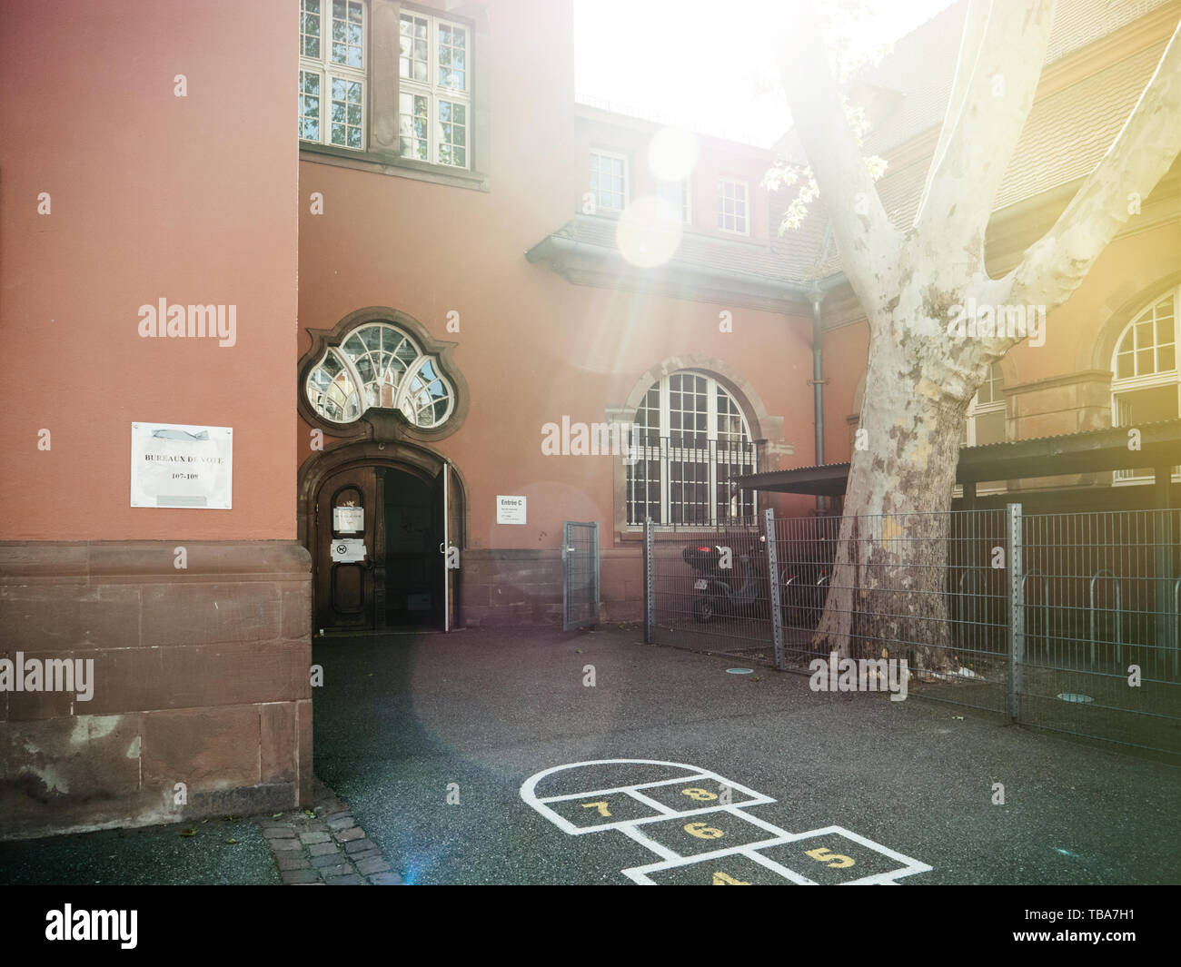 Strasbourg, France - May 26, 2019: Empty entrance to polling station bureaux de vote in France on the 2019 European Parliament election day - Stock Image