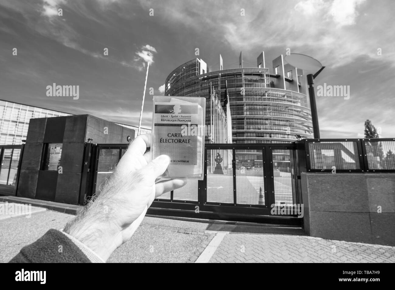 Strasbourg, France - May 26, 2019: man hand holding Voter's car French Carte Electorale at the entrance of European Parliament headquarter building with all flags on the 2019 European Parliament election day - black and white - Stock Image