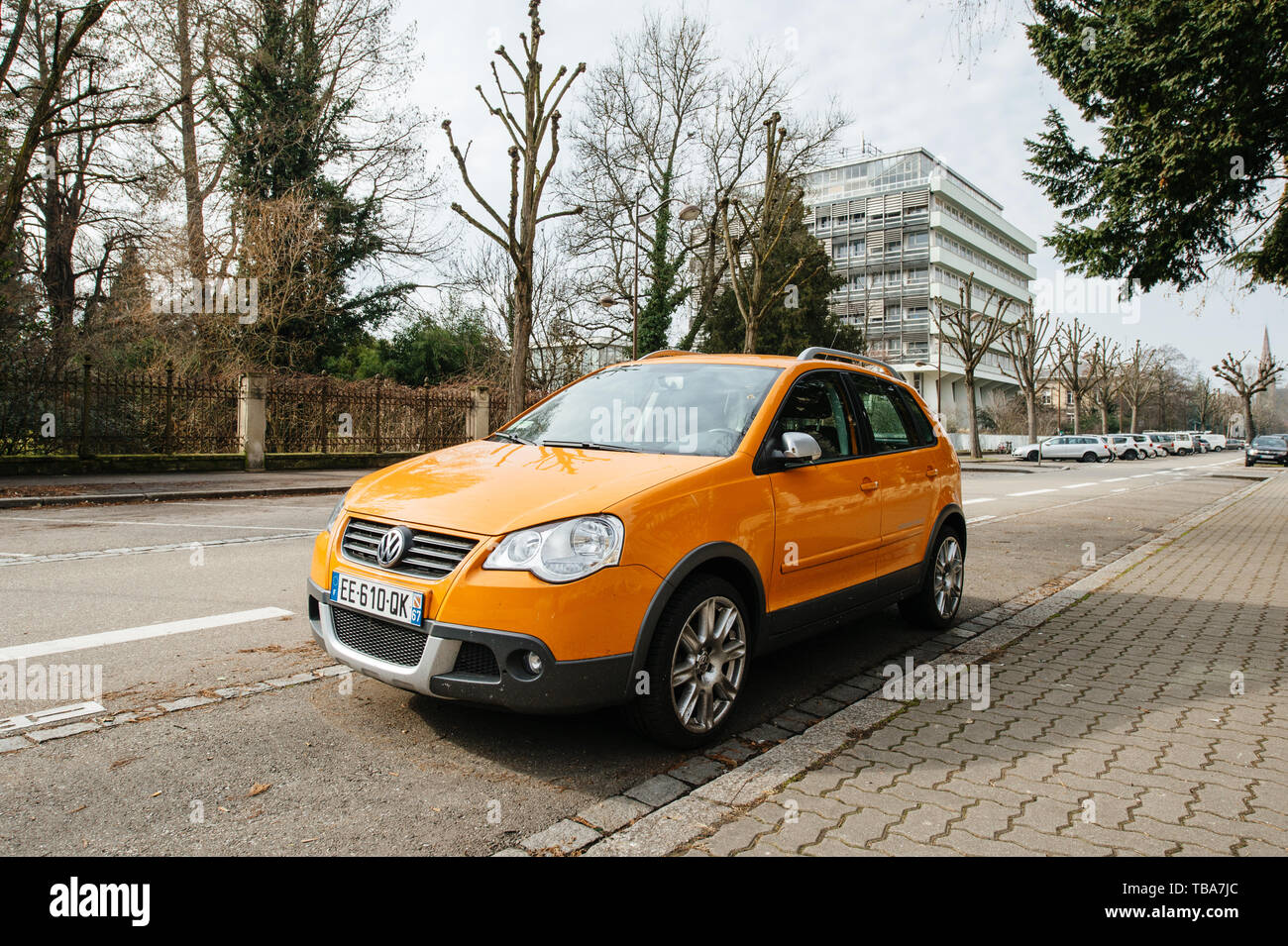 Strasbourg, France- Feb 19, 2017: New beautiful Volkswagen Cross Polo car parked on French street - Stock Image