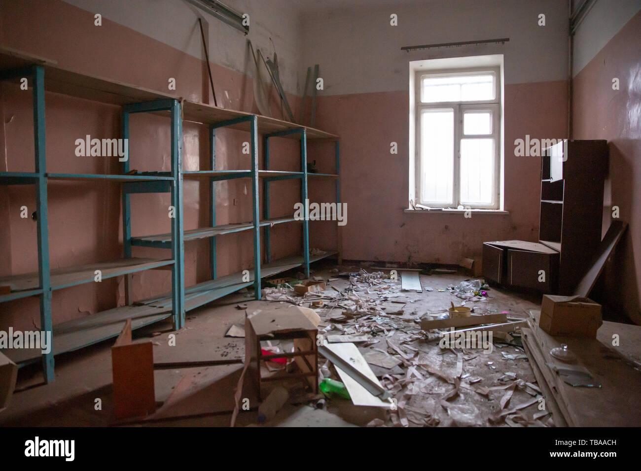 St. Petersburg, Russia - April 23, 2014: Neglected Neuropsychiatric Boarding School. - Stock Image