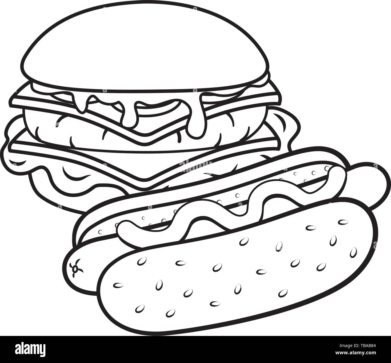Hamburger And Hot Dog With Sauce Icon Cartoon Black And White Vector Illustration Graphic Design Stock Vector Image Art Alamy