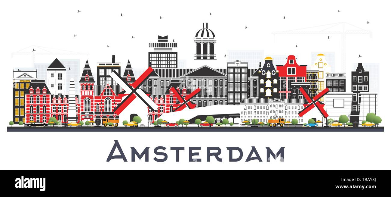 Amsterdam Holland City Skyline with Color Buildings Isolated on White. Vector Illustration. Business Travel and Tourism Concept. - Stock Vector