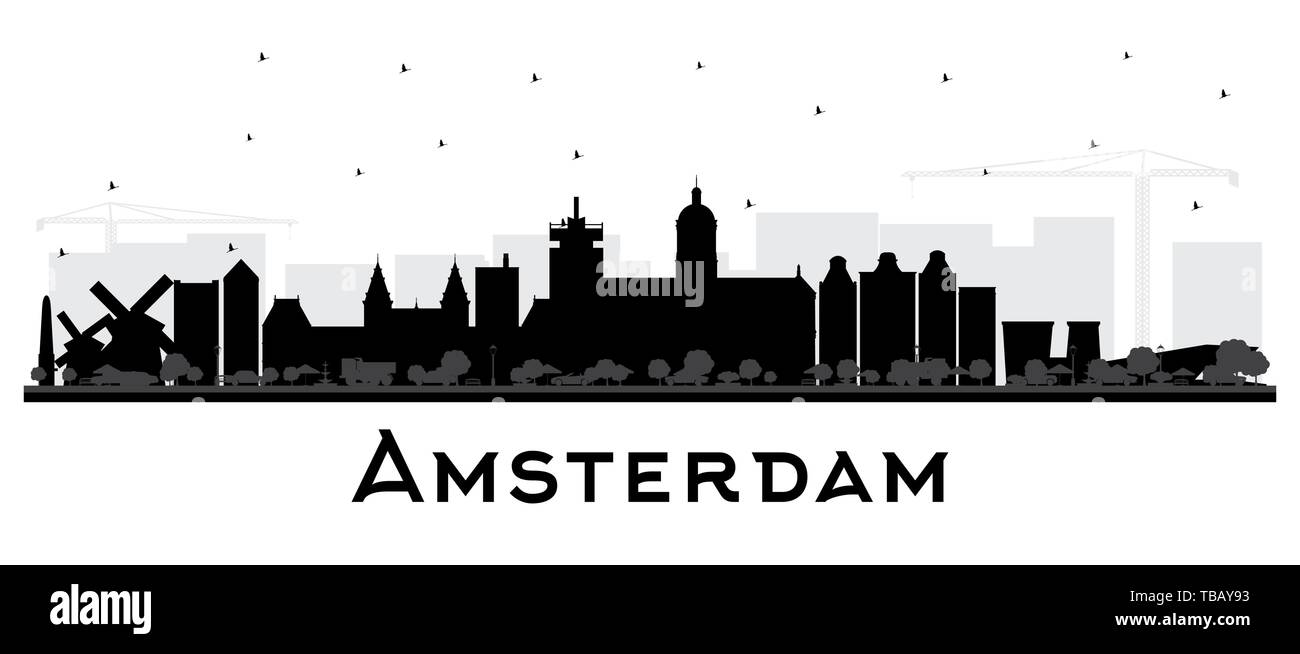 Amsterdam Holland City Skyline Silhouette with Black Buildings Isolated on White. Vector Illustration. Travel and Tourism Concept. - Stock Vector
