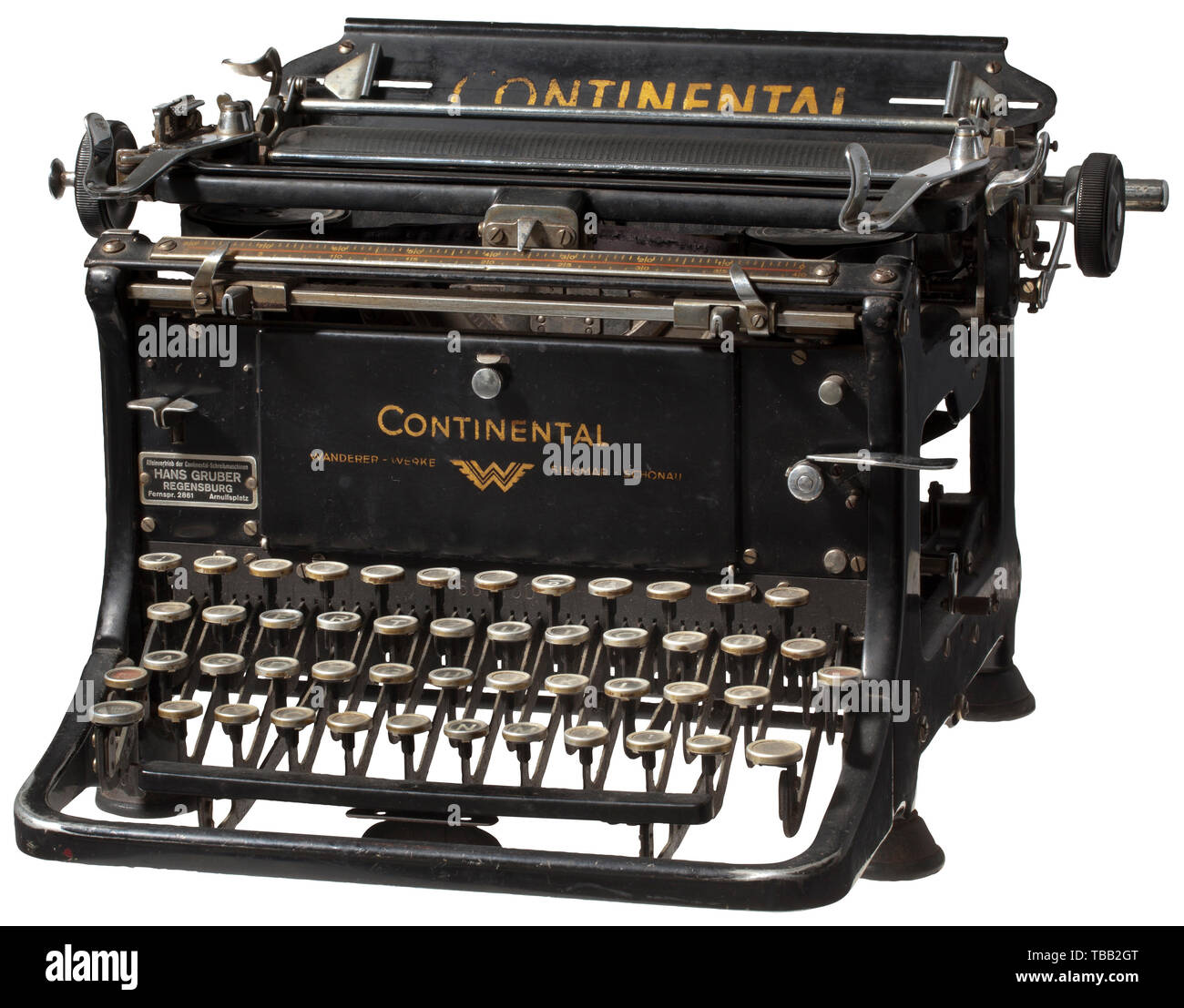 Eva Braun (1912 - 1945) - a typewriter from the Wasserburgerstraße 12 (today Delpstraße) in Munich. According to Gretl Braun's son, Rainer Berlinghoff, the typewriter was a personal present from Fritz Braun to his daughter Eva. The typewriter remained in family hands and became the property of Eva's sister Margarete 'Gretl' Braun. She took the typewriter, which was among Eva Braun's belongings in the latter's mansion in the Wasserburgerstr. 12. Typewriter in working order, type 'Continental' by the Wanderer-Werke, Siegmar-Schonau, distributed by Hans Gruber in Regensburg (t, Editorial-Use-Only - Stock Image