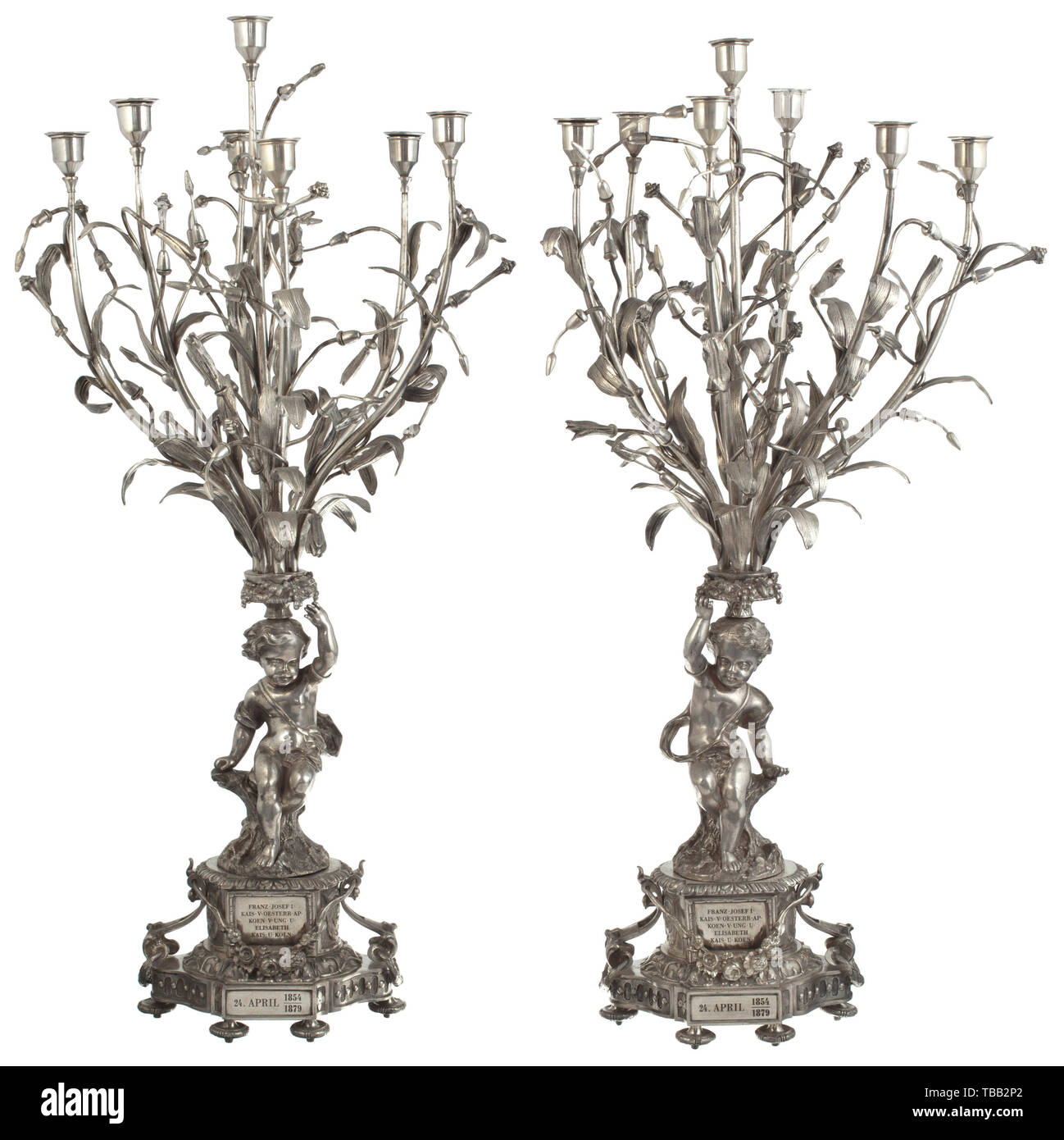 Emperor Franz Joseph I - Empress Elisabeth - a pair of candelabra in the form of magnolias A gift for the silver wedding anniversary of the imperial couple 1879. Fire-silvered brass. Extraordinarily crafted pieces, the seven-branched magnolia candelabra (the leaves pie 19th century, Additional-Rights-Clearance-Info-Not-Available - Stock Image