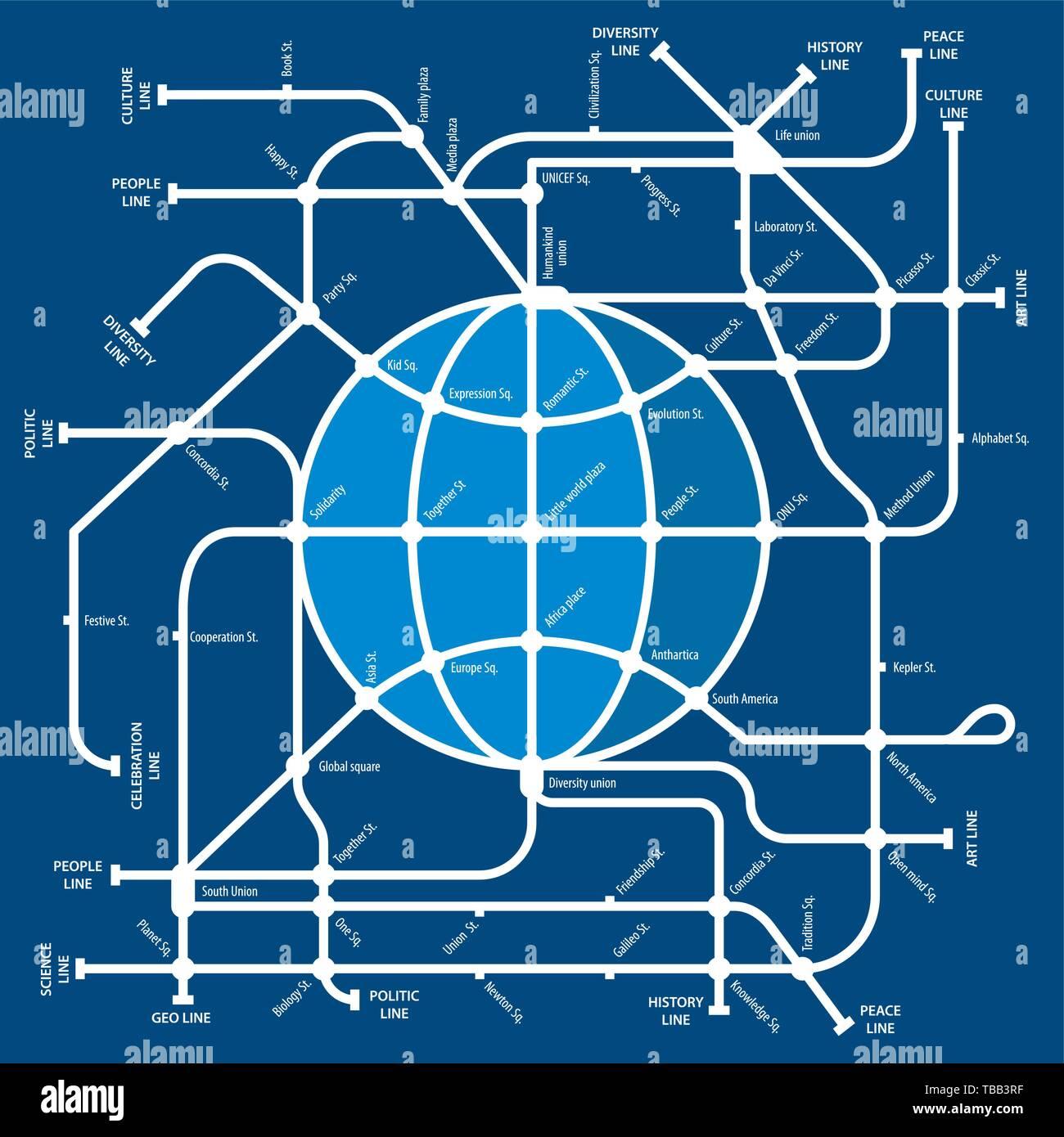 World Metro Subway Map.Vector Illustration World Metro Drawing Metaphor Of Earth As