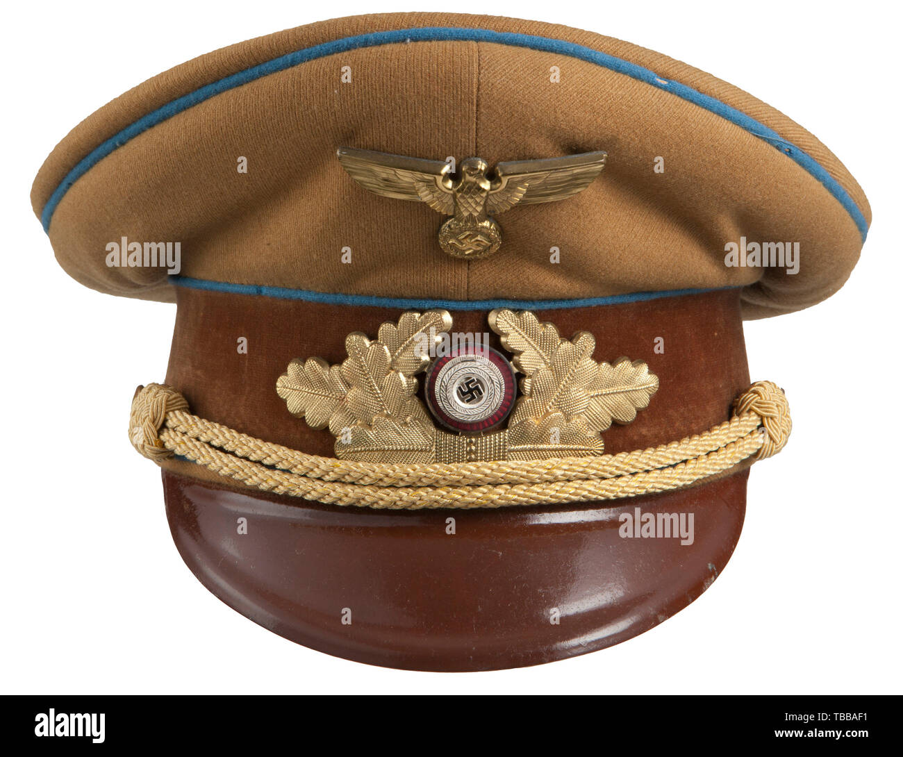 THE JOHN PEPERA COLLECTION, A Visor Hat M 39 for Officials of the NSDAP Ortsgruppe, Fine light brown wool twill top, brown velvet centre band, light blue wool piping has minor moth damage. Gilt metal insignia, with enamelled cockade, gold cellon chin cords retained by gilt stippled side buttons and a brown lacquered visor. Orange/brown linen lining with RZM label under leather sweatband is complete with intact moisture shield, paper size tag with ink size stamp '55' and a GI written note to family when sent home as a souvenir. Visor exhibits no wear and appears unissued sti, Editorial-Use-Only - Stock Image