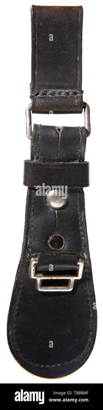 THE JOHN PEPERA COLLECTION, A Leather Hanger for SS Officer Dagger, Black leather riveted tear drop hanger stamped on reverse 'SS (double circle) 48/38 RZM (double circle)'. Nickel-plated steel fittings., Editorial-Use-Only - Stock Image