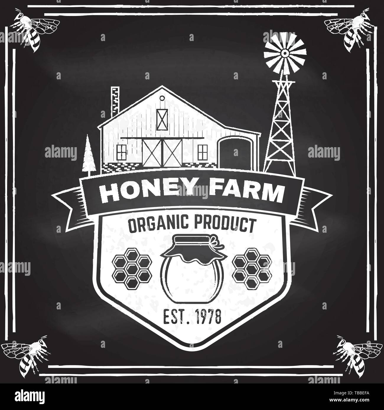 Honey farm badge. Vector on the chalkboard. Concept for shirt, print, stamp or tee. Vintage typography design with honey silhouette. Retro design for honey bee farm business - Stock Vector
