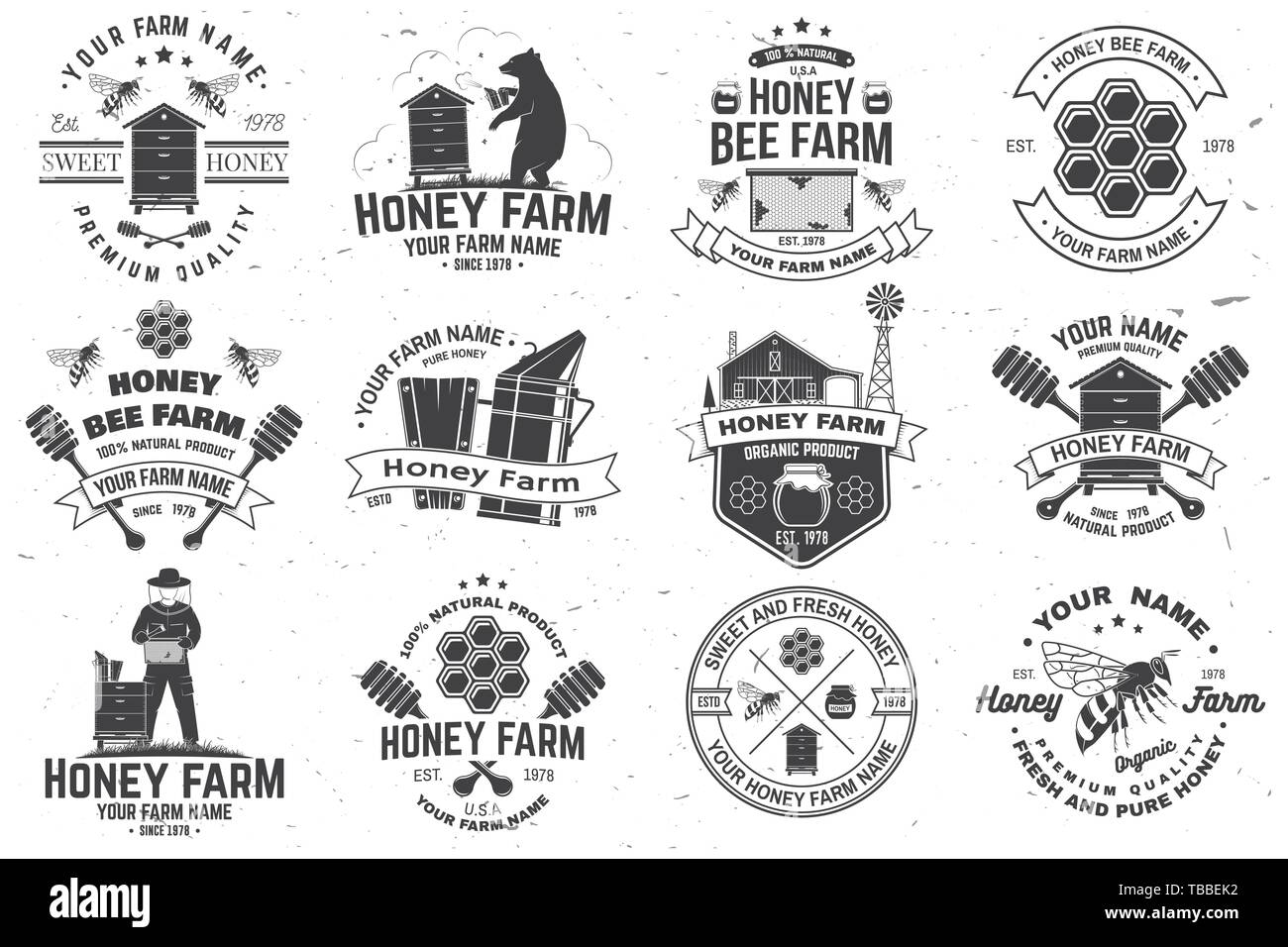Set of Honey bee farm badge. Vector. Concept for shirt, print, stamp or tee. Vintage typography design with bee, honeycomb piece, hive and honey dipper silhouette. Design for honey bee farm business - Stock Image