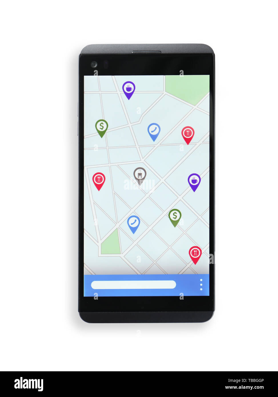 Mobile phone with map and location pointers on screen against white background - Stock Image