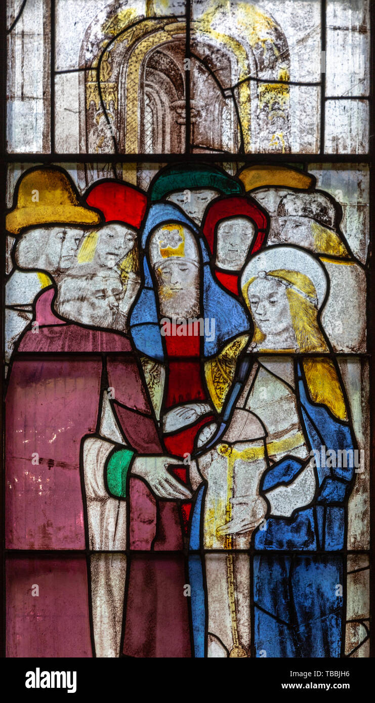 Sixteenth century stained glass windows inside church of Saint Mary, Fairford, Gloucestershire, England, UK window 2 detail Betrothal - Stock Image