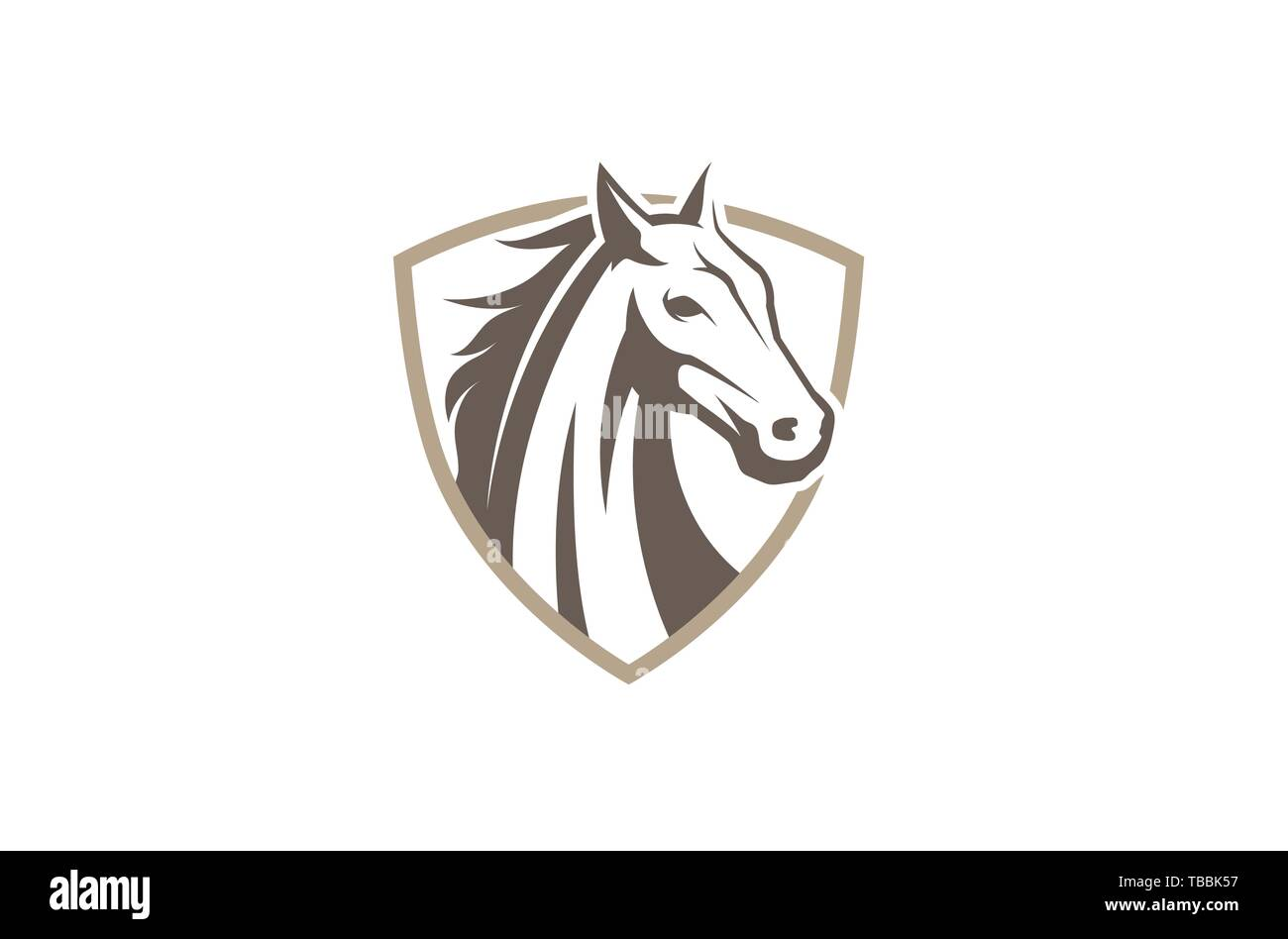 Creative Horse Shield Logo Design Symbol Vector Illustration Stock Vector Image Art Alamy