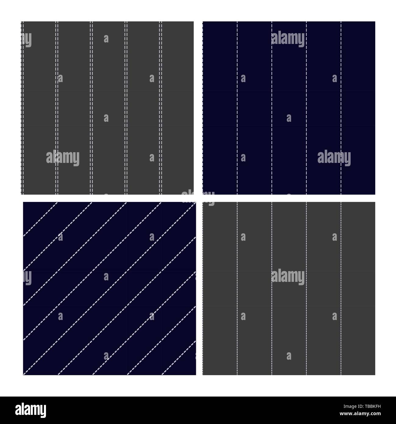 Pinstripe Collection Seamless Pattern Set Vector - Stock Image