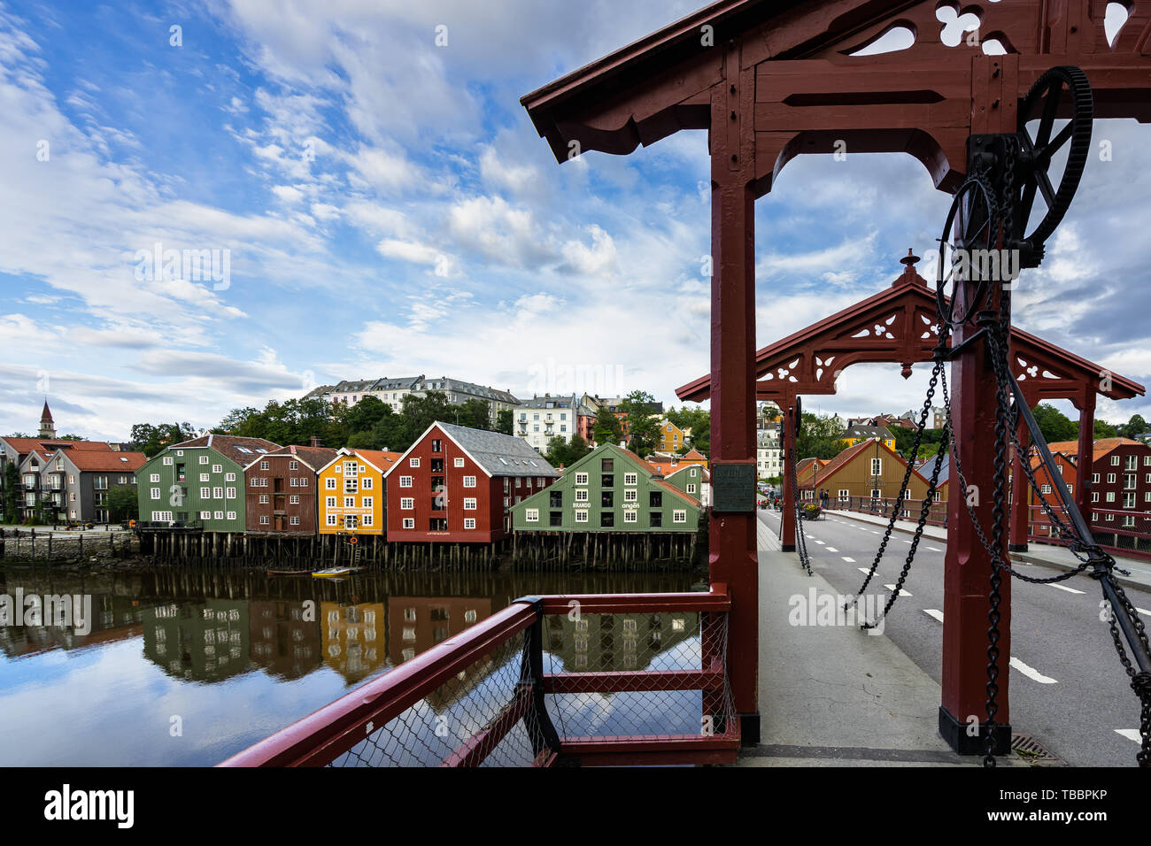 Detail of Gamle Bybro, the bridge crosses the Nidelva River connecting the main street Kjopmannsgata to Bakklandet district, Trondheim, Norway Stock Photo