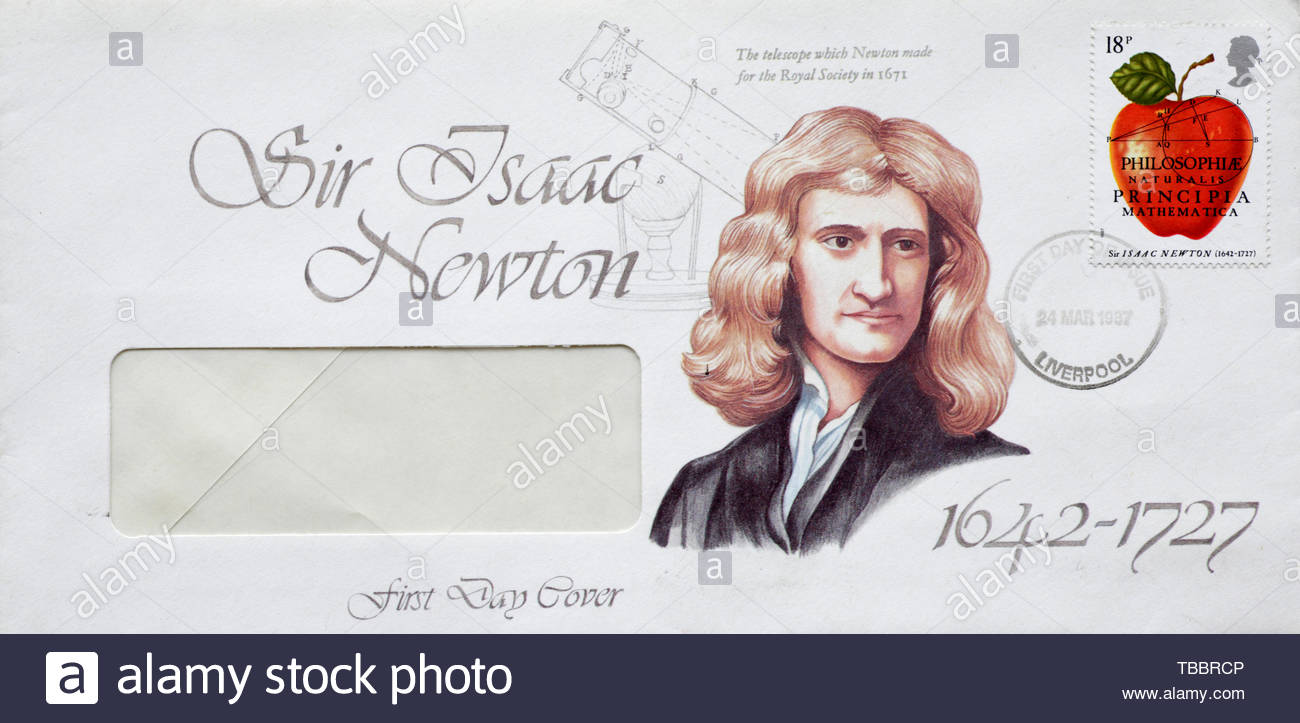 Post Office First Day Cover 1987, Commemorating Isaac Newtons Philosophiæ Naturalis Principia Mathematica anniversary - Stock Image