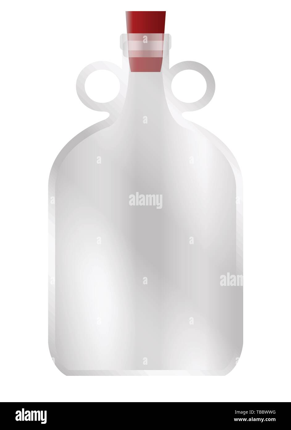 A large glass demijohn style container with rubber stopper and copy space - Stock Image