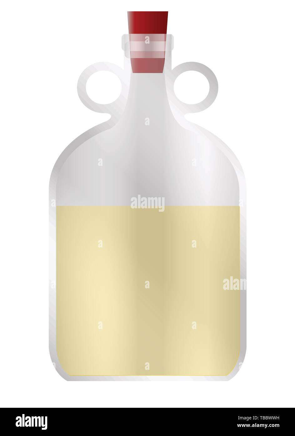 A large glass half full demijohn style container with rubber stopper and copy space - Stock Image