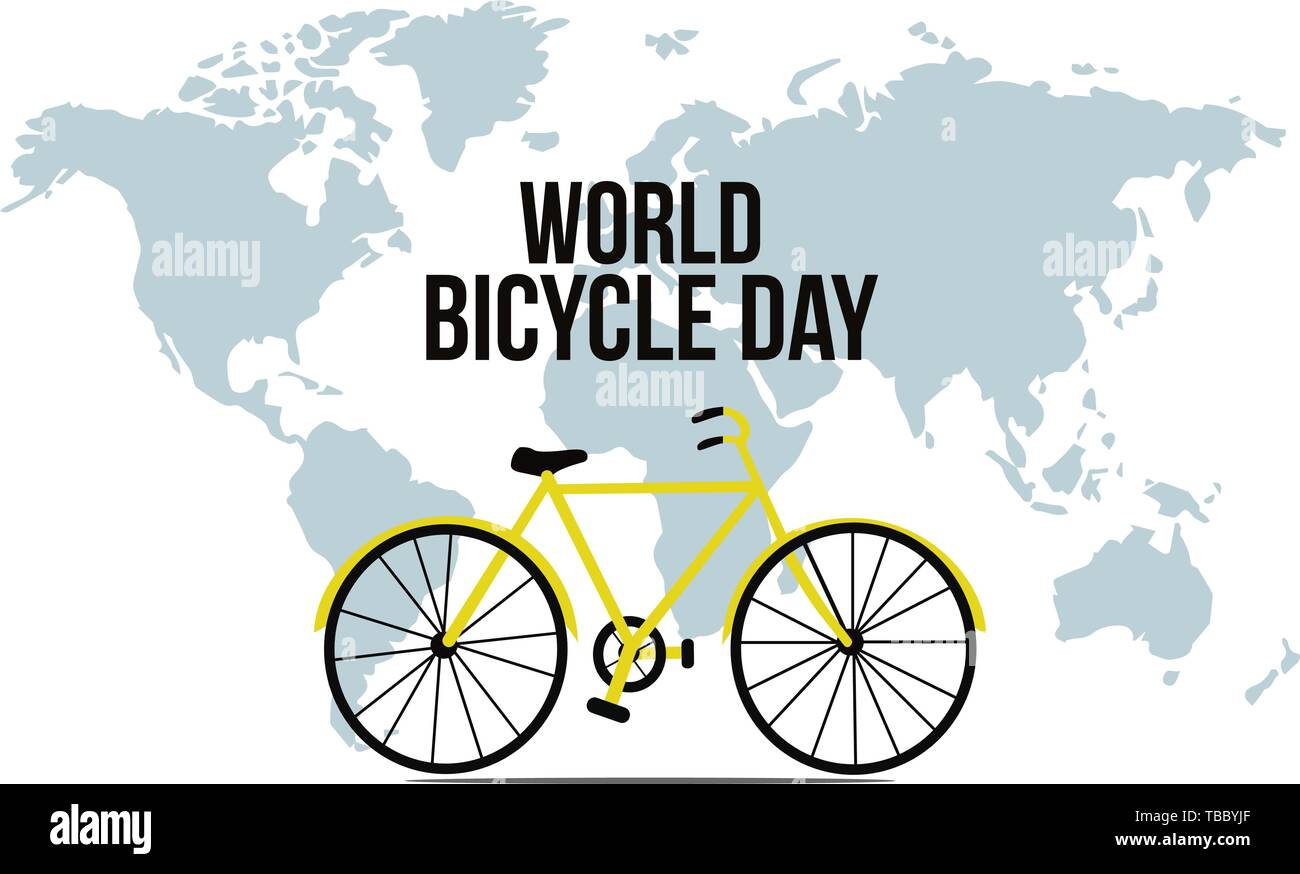 Illustration of Concept World bicycle day. Vector illustration - Stock Image