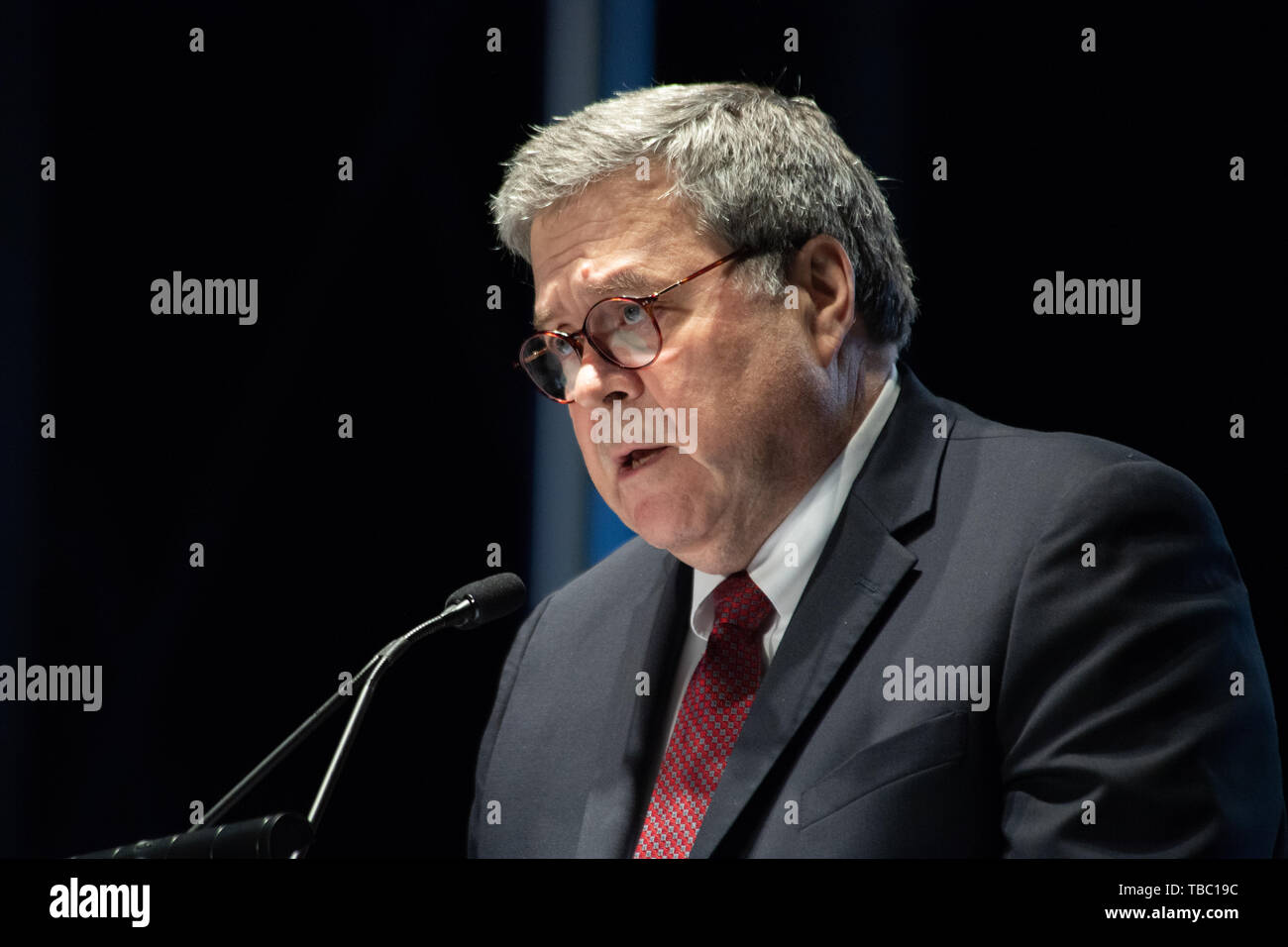U S Attorney General William Barr delivers remarks during