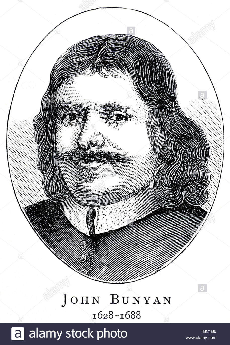 John Bunyan portrait, 1628 – 1688 was an English writer and Puritan preacher best remembered as the author of the Christian allegory The Pilgrim's Progress - Stock Image