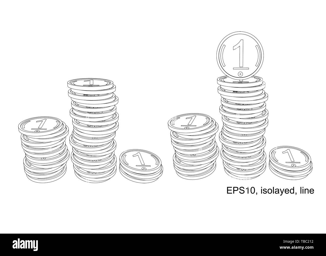 Podium of stacks of coins. Many gold coins in towers. Outline. - Stock Image