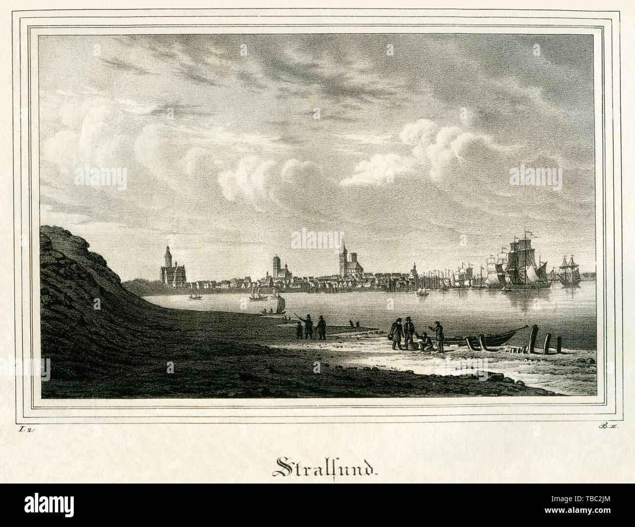 Europa, Deutschland, Mecklenburg-Vorpommern, Blick auf Stralsund, Stahlstich, um 1840er Jahre, keine Informationen über Verlag und Künstler .  /  Euro Stock Photo