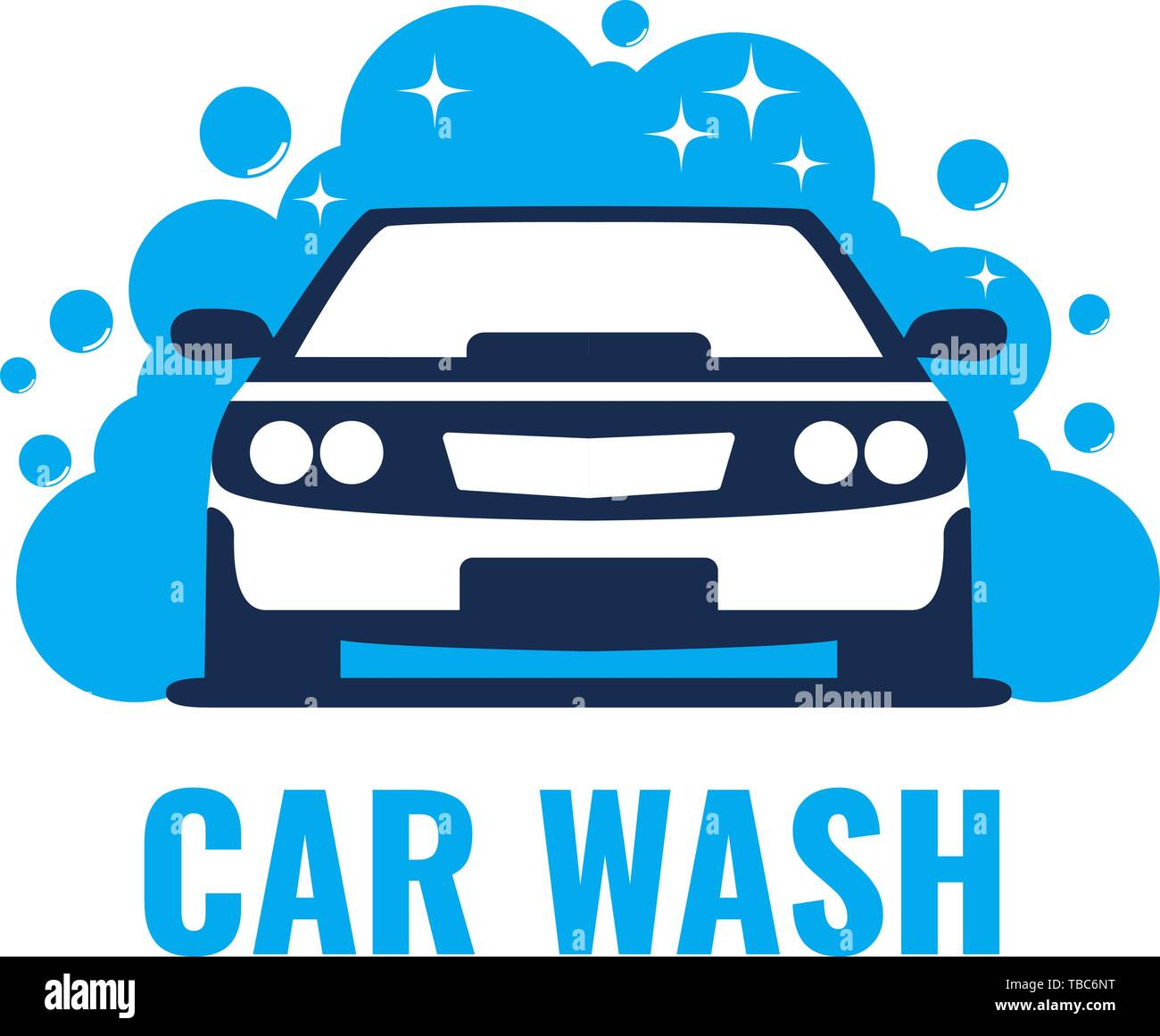 Car Wash Logo On Light Background Clean Car In Bubbles And Water Template Design Vector Stock Vector Image Art Alamy