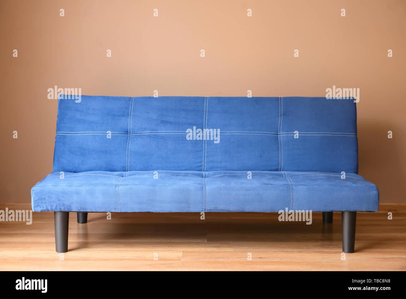 Fantastic Stylish Blue Sofa Near Color Wall In Room Stock Photo Uwap Interior Chair Design Uwaporg