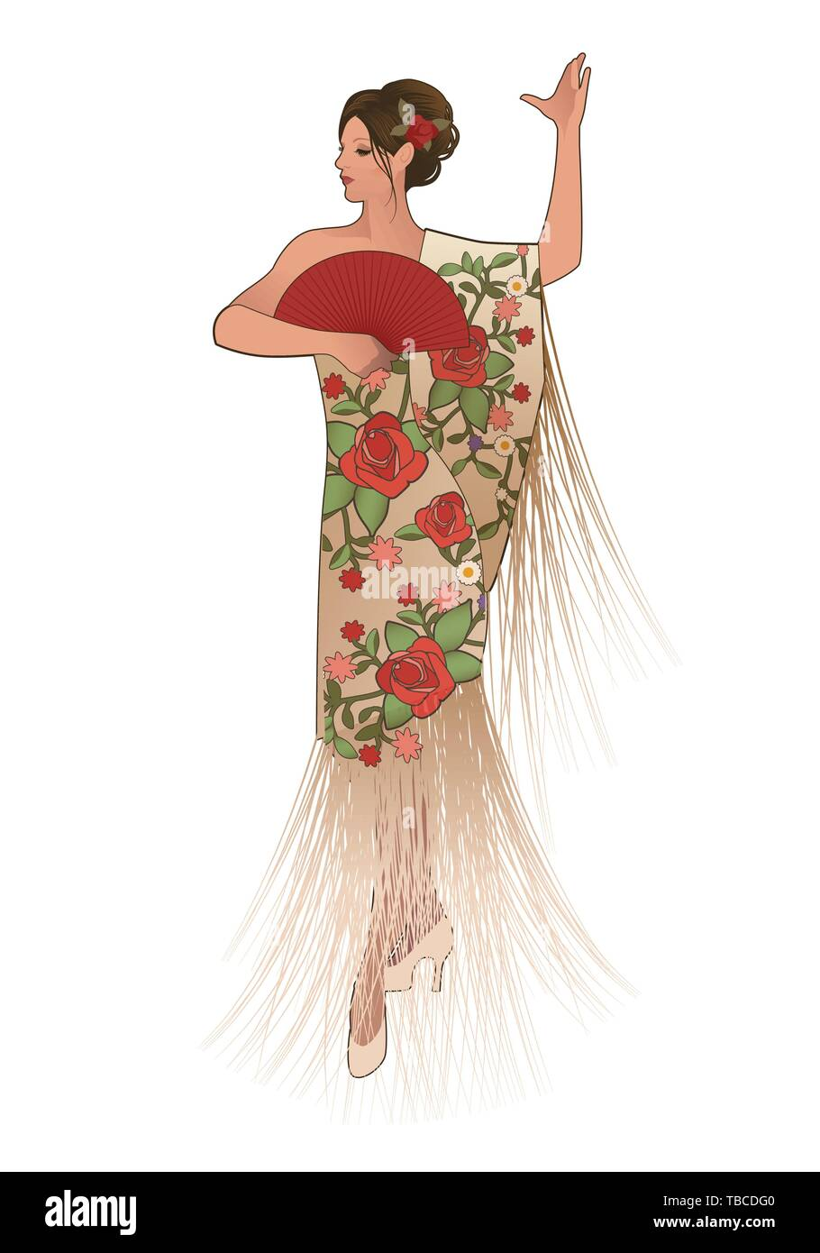Spanish woman dressed in fringed shawl, wearing fan and flower in her hair, dancing flamenco - Stock Image